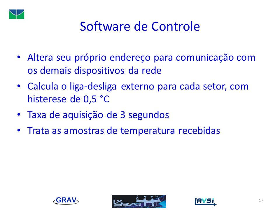 Software de Controle Altera seu próprio endereço para comunicação com os demais dispositivos da rede.