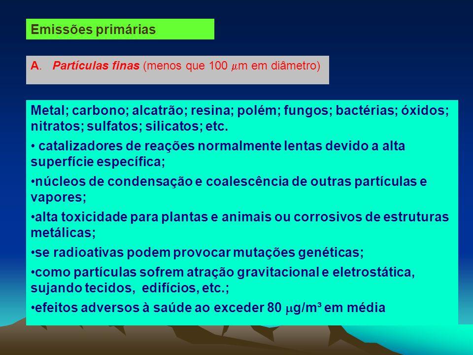 núcleos de condensação e coalescência de outras partículas e vapores;