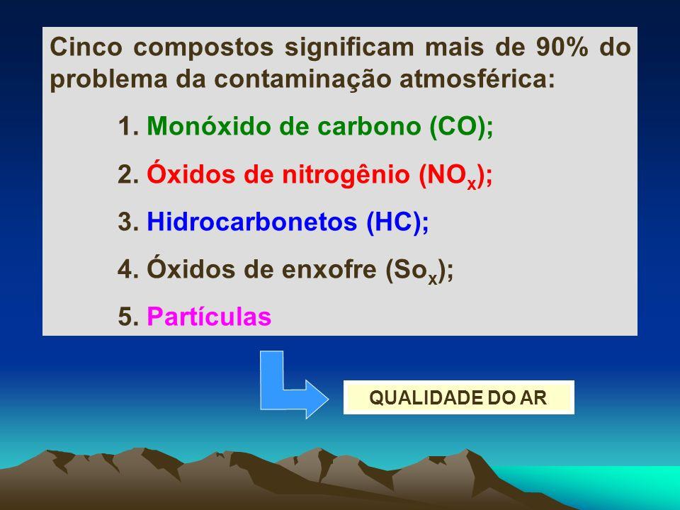 1. Monóxido de carbono (CO); 2. Óxidos de nitrogênio (NOx);