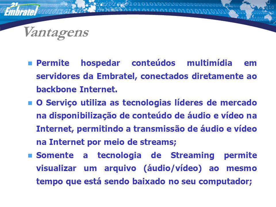 Vantagens Permite hospedar conteúdos multimídia em servidores da Embratel, conectados diretamente ao backbone Internet.