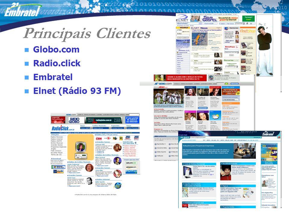 Principais Clientes Globo.com Radio.click Embratel Elnet (Rádio 93 FM)