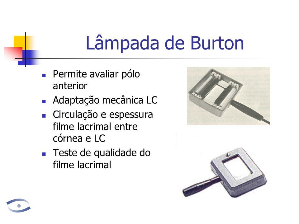 Lâmpada de Burton Permite avaliar pólo anterior Adaptação mecânica LC