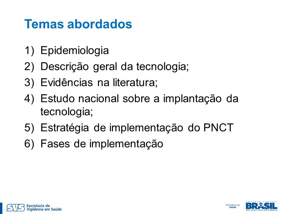 Temas abordados Epidemiologia Descrição geral da tecnologia;