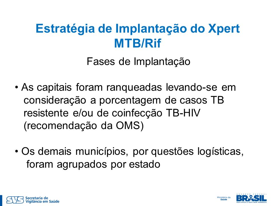Estratégia de Implantação do Xpert MTB/Rif