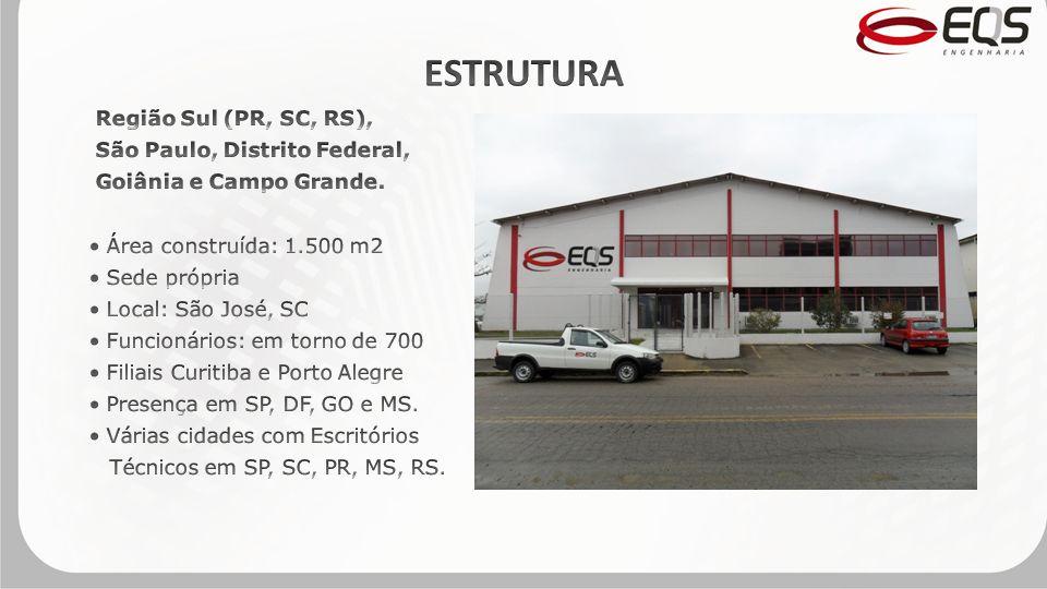 ESTRUTURA Região Sul (PR, SC, RS), São Paulo, Distrito Federal,