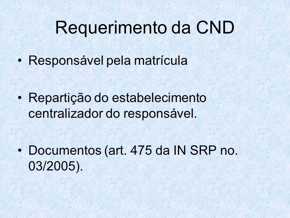Requerimento da CND Responsável pela matrícula