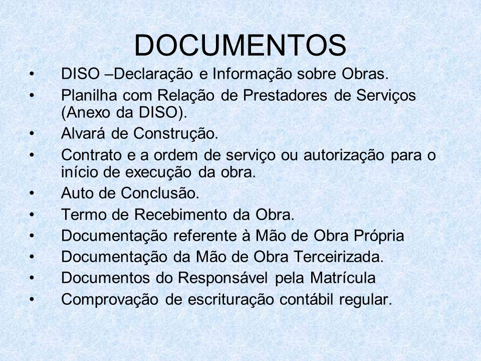 DOCUMENTOS DISO –Declaração e Informação sobre Obras.