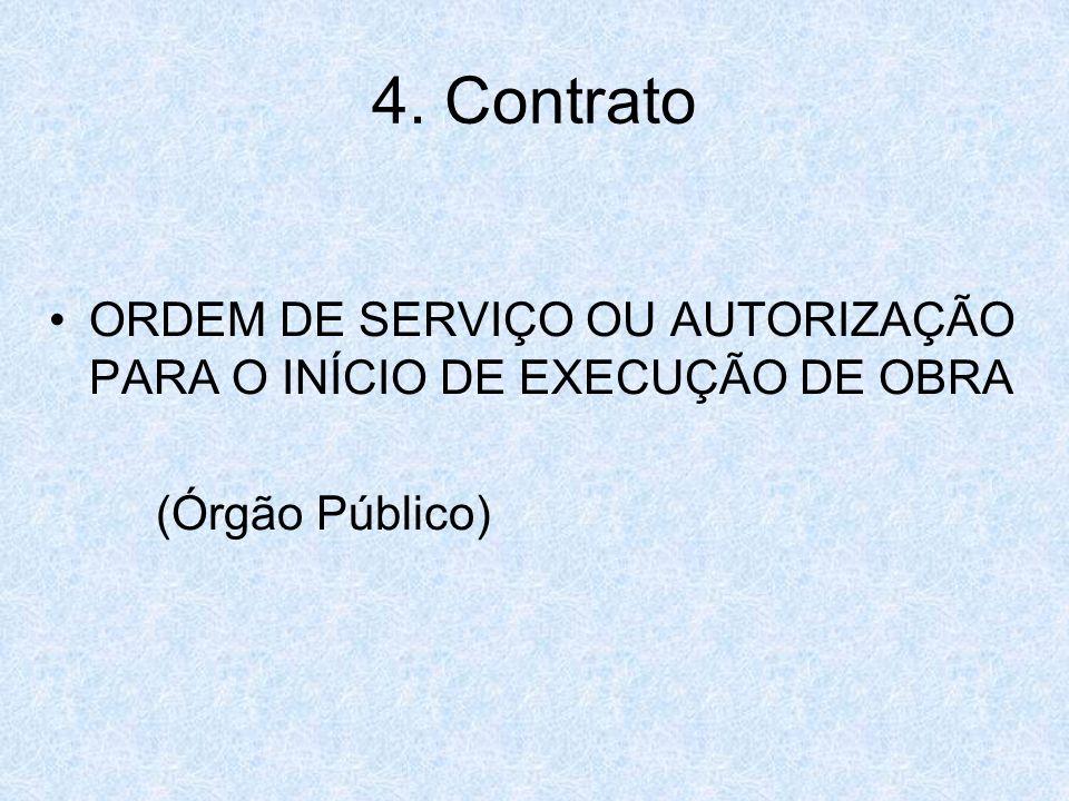 4. Contrato ORDEM DE SERVIÇO OU AUTORIZAÇÃO PARA O INÍCIO DE EXECUÇÃO DE OBRA (Órgão Público)