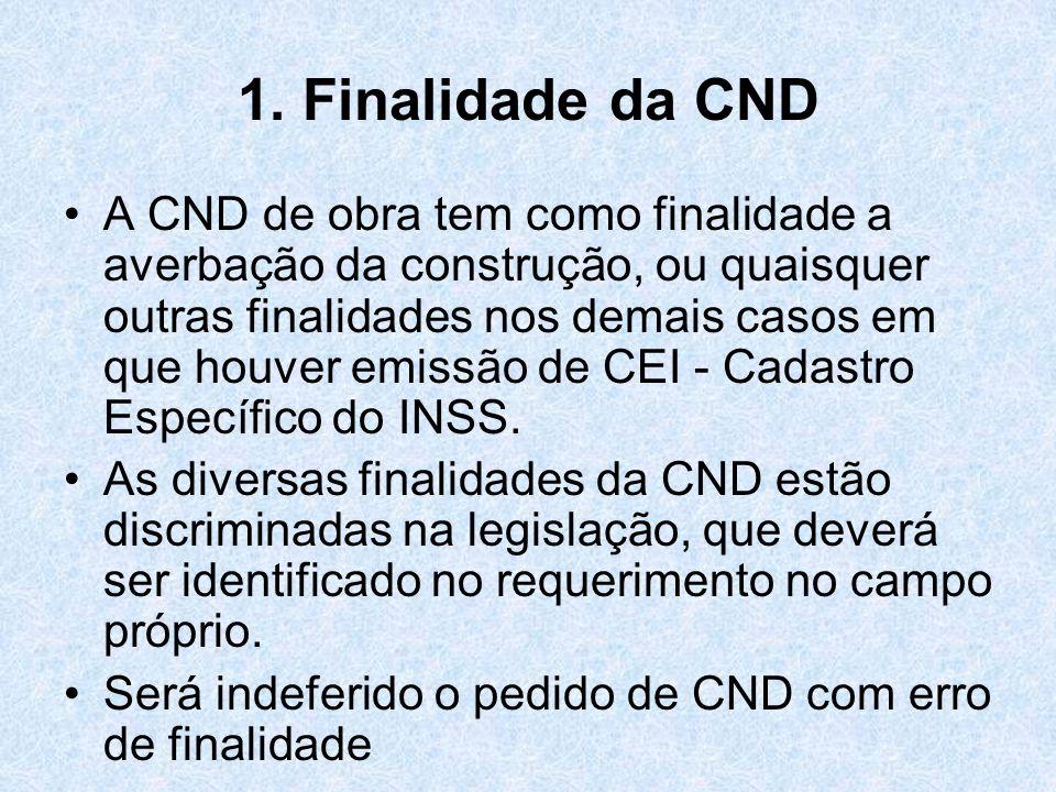 1. Finalidade da CND