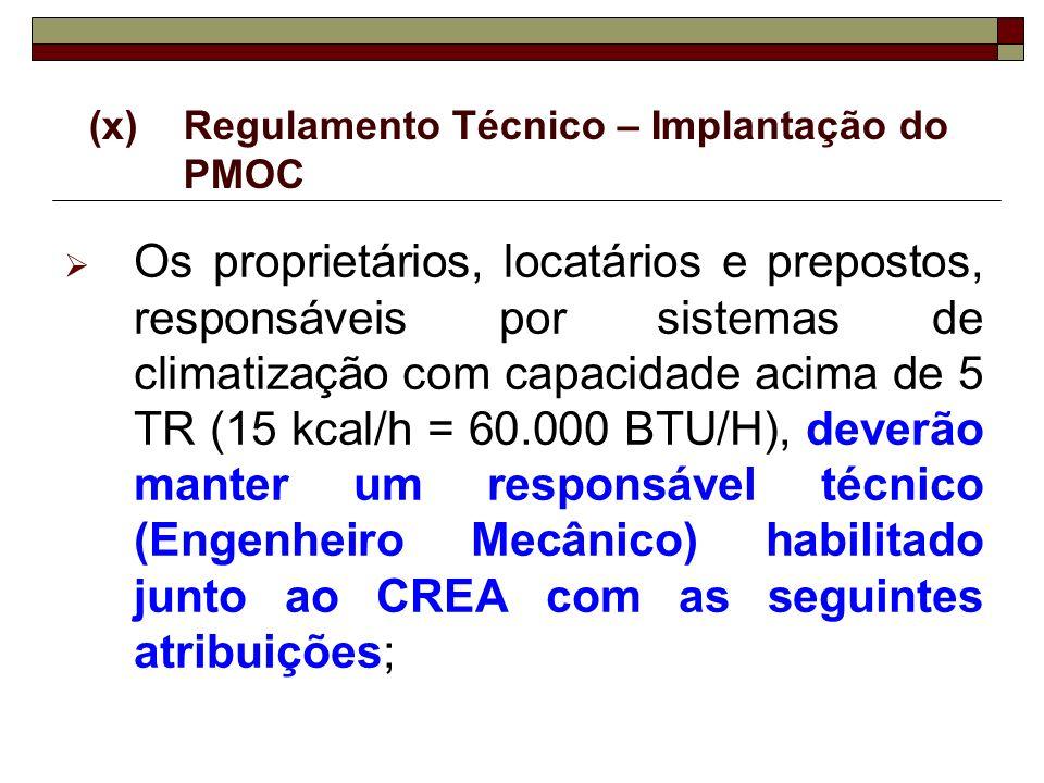 (x) Regulamento Técnico – Implantação do PMOC