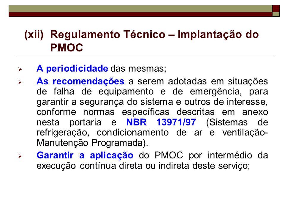 (xii) Regulamento Técnico – Implantação do PMOC