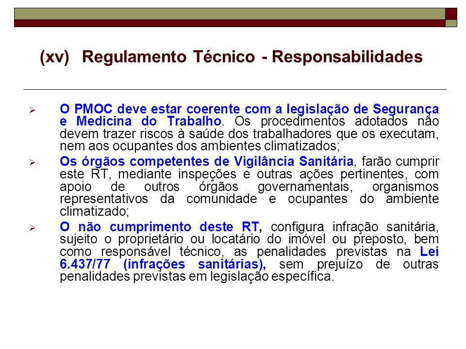 (xv) Regulamento Técnico - Responsabilidades