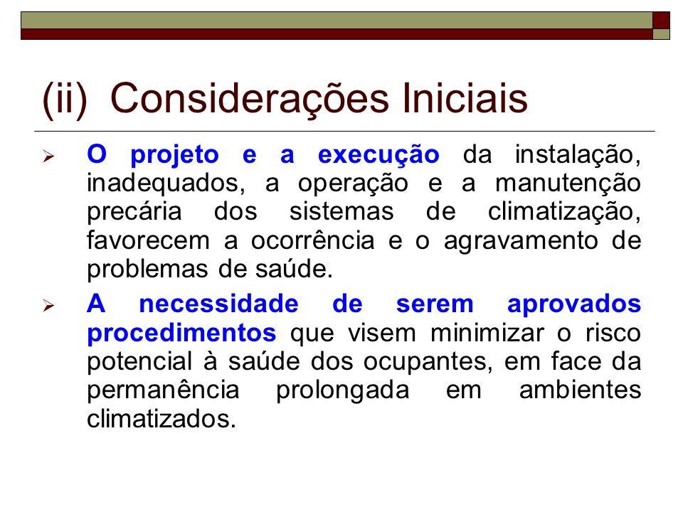 (ii) Considerações Iniciais