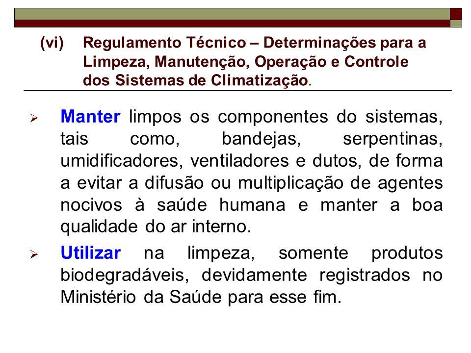 (vi) Regulamento Técnico – Determinações para a Limpeza, Manutenção, Operação e Controle dos Sistemas de Climatização.