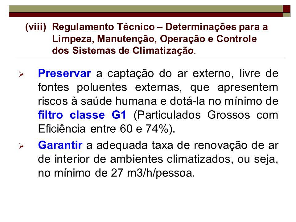 (viii) Regulamento Técnico – Determinações para a Limpeza, Manutenção, Operação e Controle dos Sistemas de Climatização.