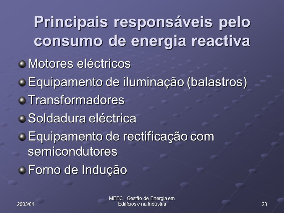Principais responsáveis pelo consumo de energia reactiva