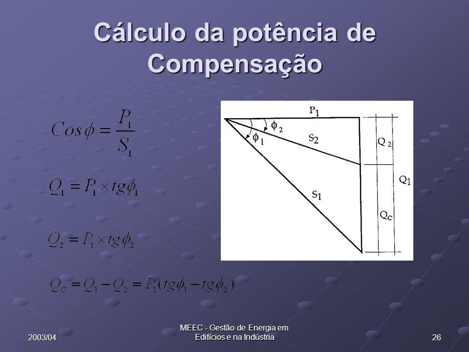 Cálculo da potência de Compensação