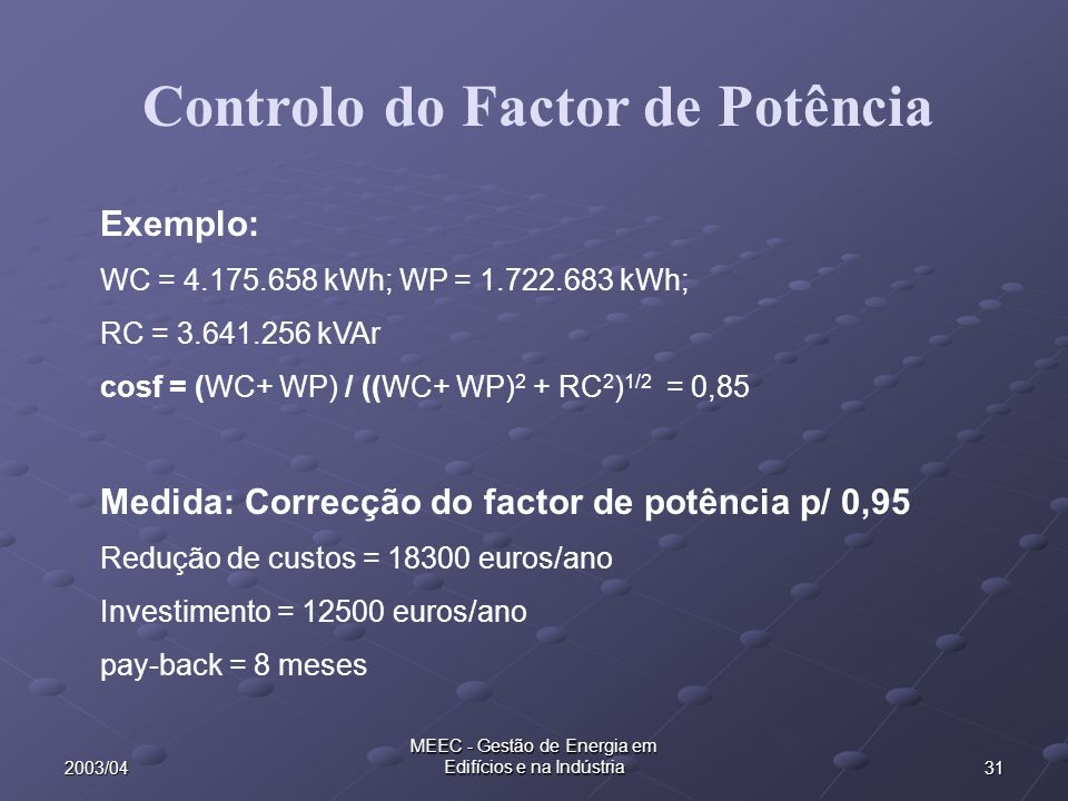 Controlo do Factor de Potência