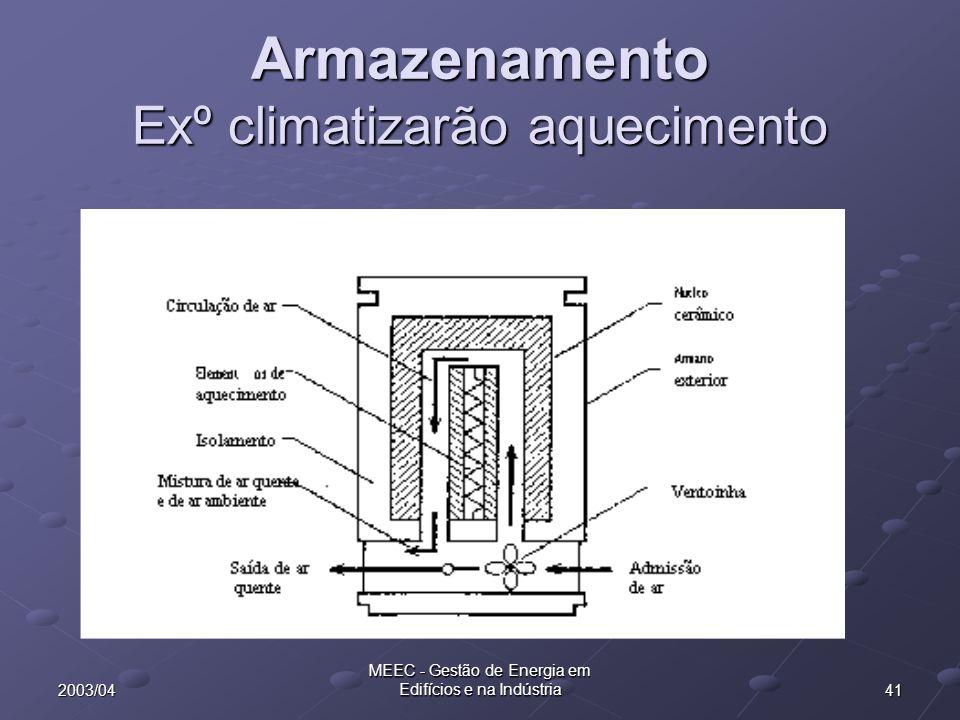 Armazenamento Exº climatizarão aquecimento