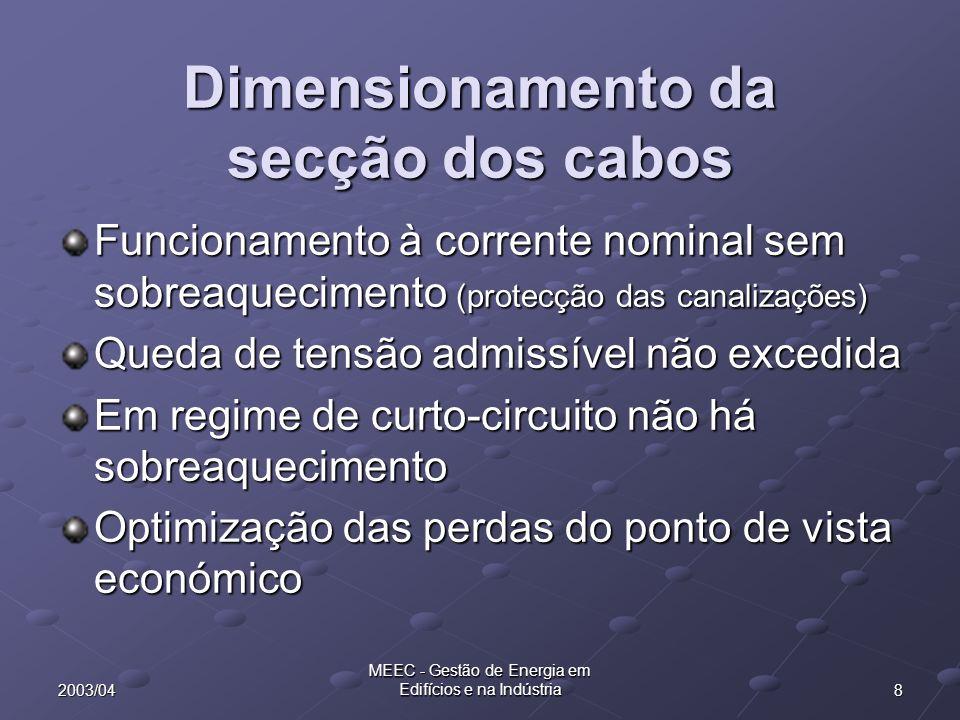 Dimensionamento da secção dos cabos