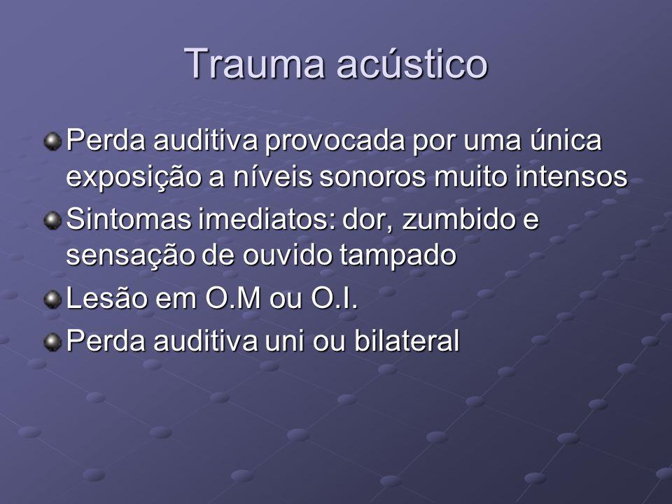 Trauma acústico Perda auditiva provocada por uma única exposição a níveis sonoros muito intensos.