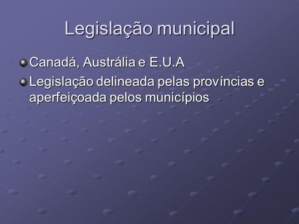 Legislação municipal Canadá, Austrália e E.U.A