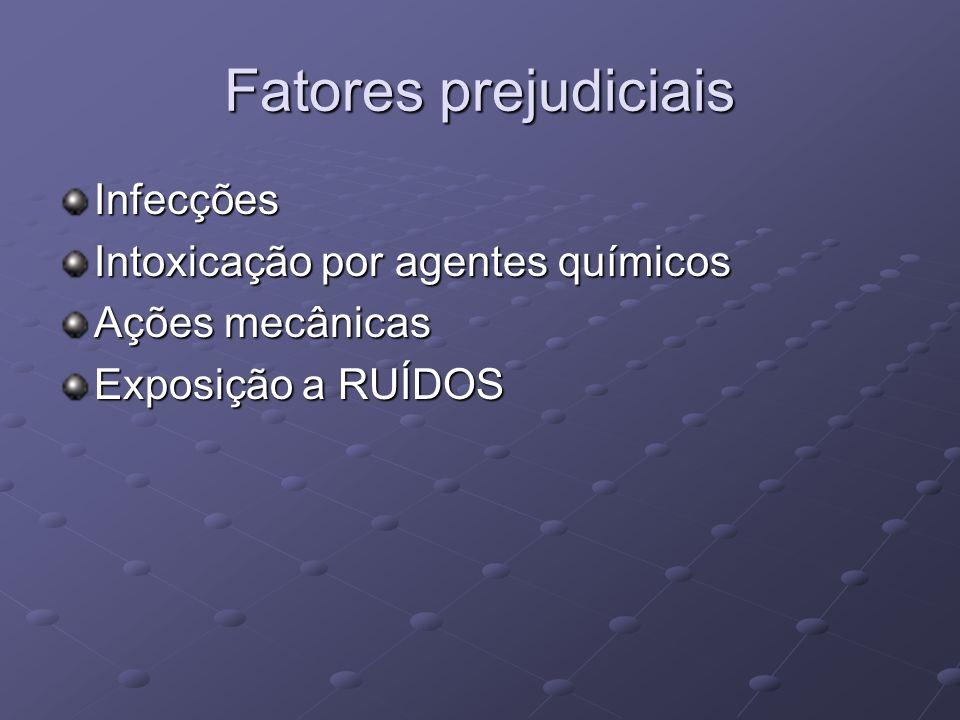 Fatores prejudiciais Infecções Intoxicação por agentes químicos