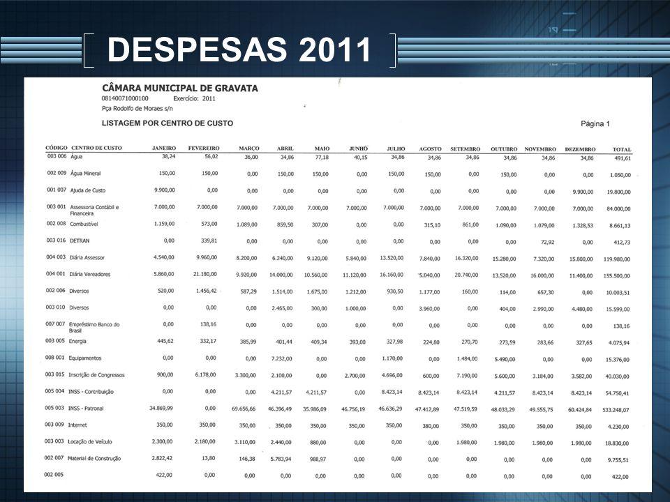 DESPESAS 2011