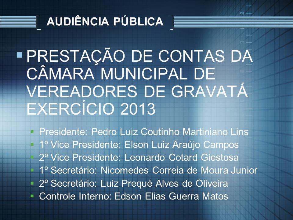 AUDIÊNCIA PÚBLICA PRESTAÇÃO DE CONTAS DA CÂMARA MUNICIPAL DE VEREADORES DE GRAVATÁ EXERCÍCIO 2013. Presidente: Pedro Luiz Coutinho Martiniano Lins.