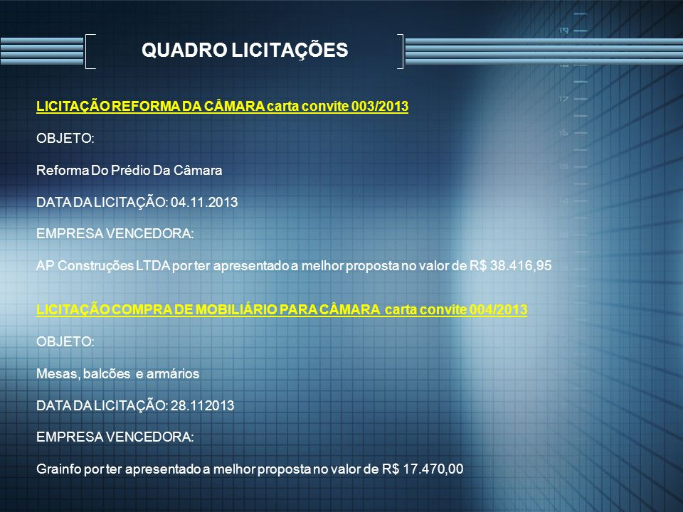 QUADRO LICITAÇÕES LICITAÇÃO REFORMA DA CÂMARA carta convite 003/2013