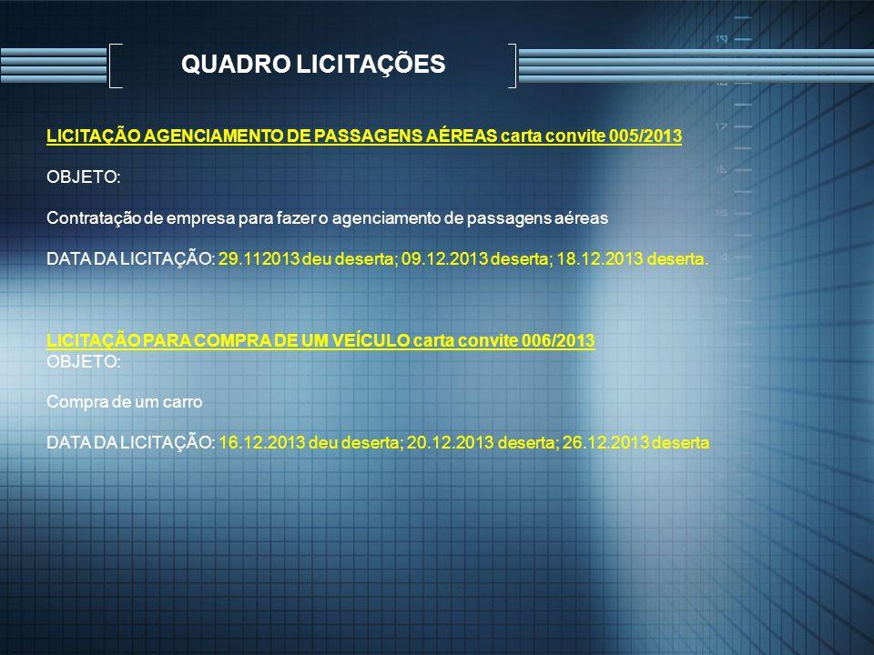 QUADRO LICITAÇÕES LICITAÇÃO AGENCIAMENTO DE PASSAGENS AÉREAS carta convite 005/2013. OBJETO: