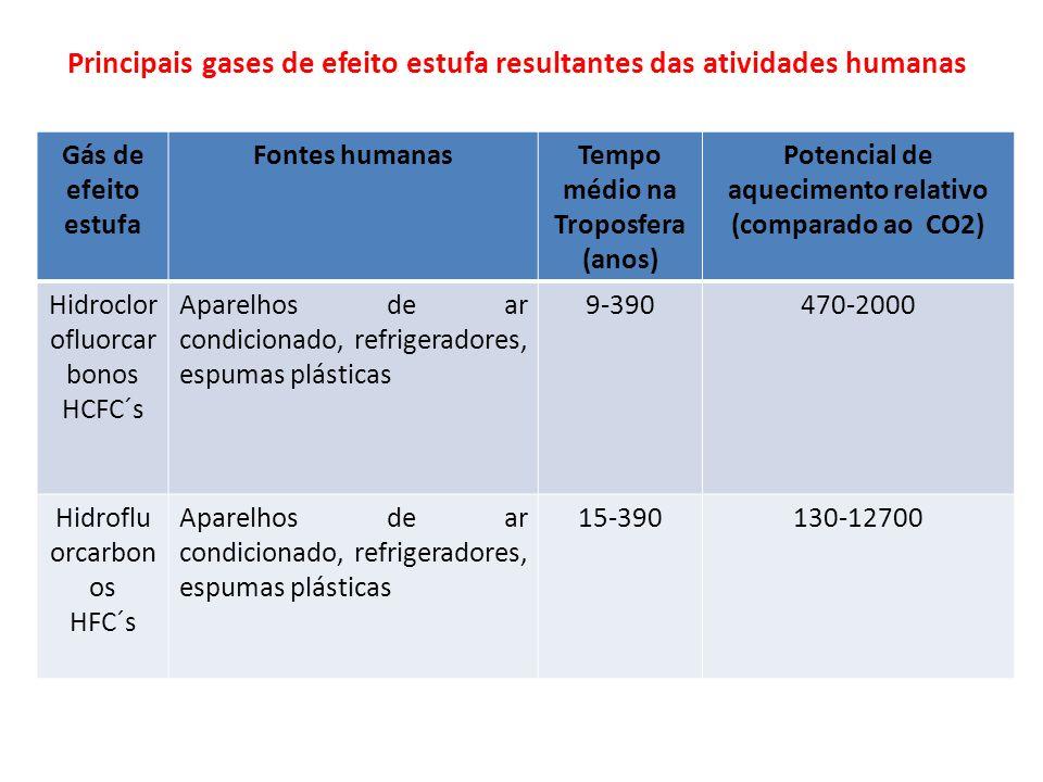 Principais gases de efeito estufa resultantes das atividades humanas