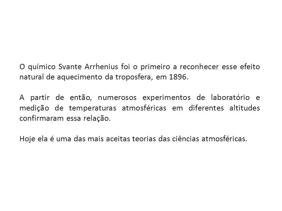 O químico Svante Arrhenius foi o primeiro a reconhecer esse efeito natural de aquecimento da troposfera, em 1896.
