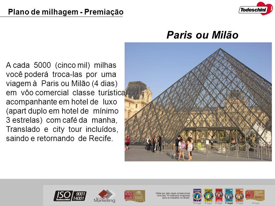 Paris ou Milão Plano de milhagem - Premiação
