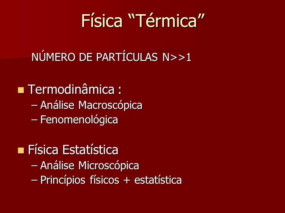 Física Térmica Termodinâmica : Física Estatística