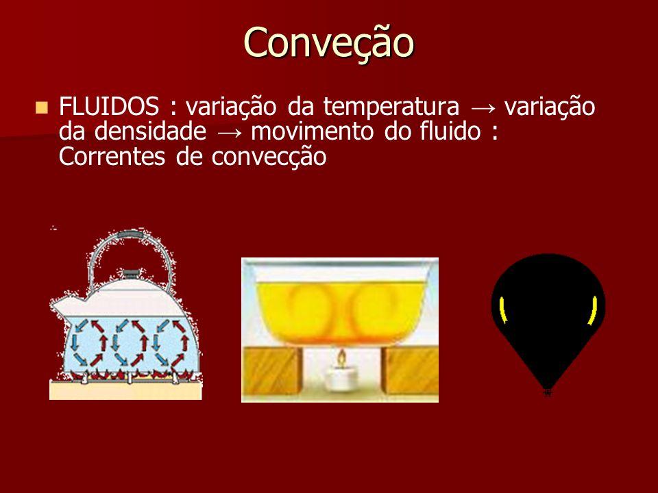 Conveção FLUIDOS : variação da temperatura → variação da densidade → movimento do fluido : Correntes de convecção.