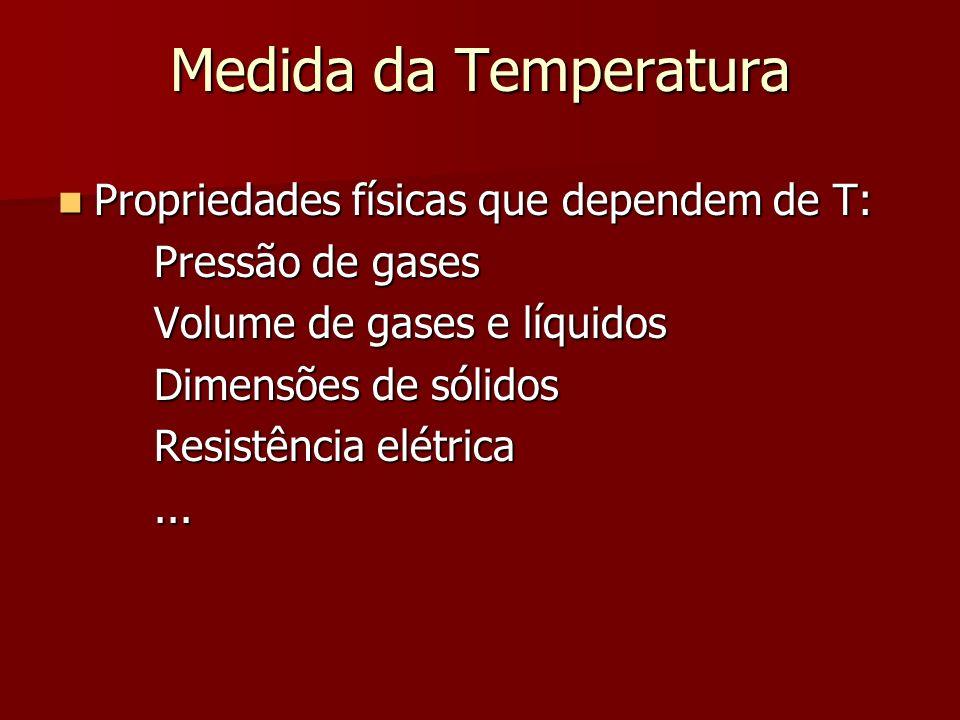 Medida da Temperatura Propriedades físicas que dependem de T: