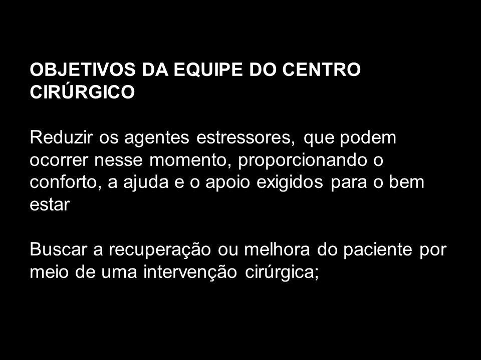 OBJETIVOS DA EQUIPE DO CENTRO CIRÚRGICO
