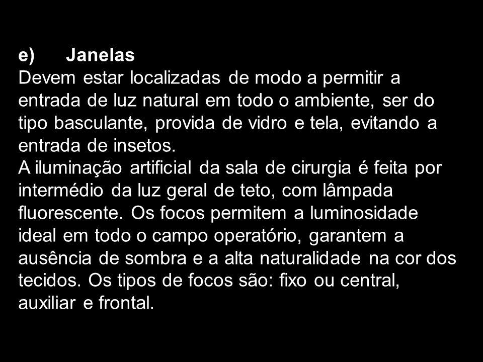 e) Janelas