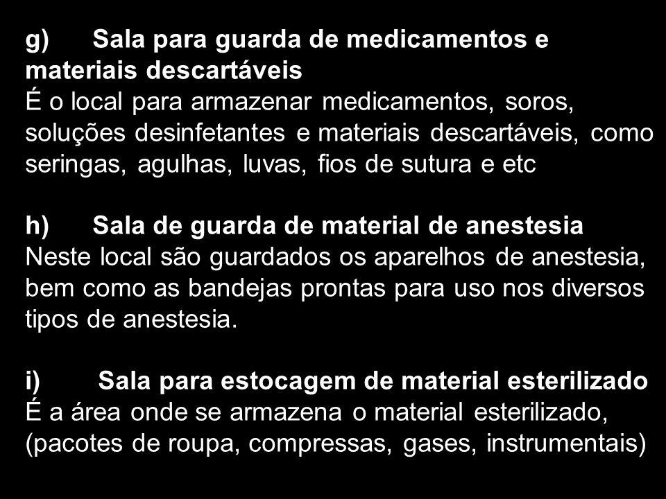 g) Sala para guarda de medicamentos e materiais descartáveis