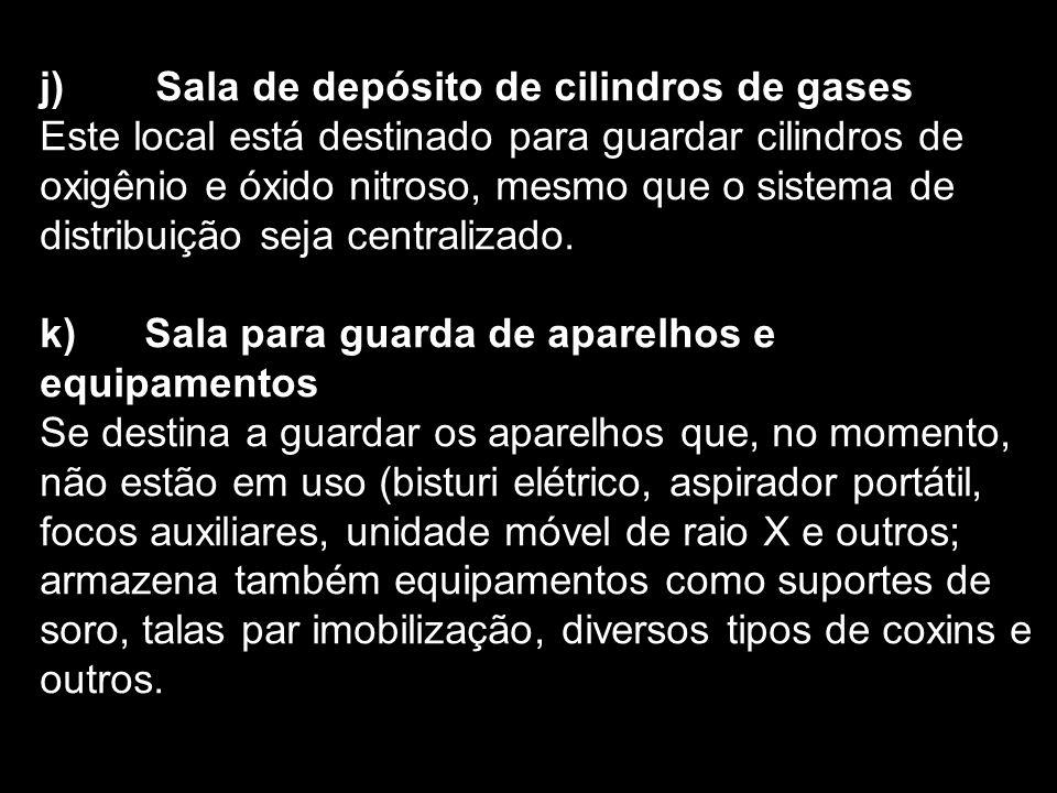 j) Sala de depósito de cilindros de gases