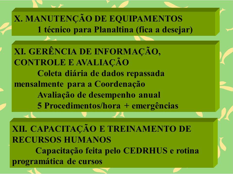 X. MANUTENÇÃO DE EQUIPAMENTOS