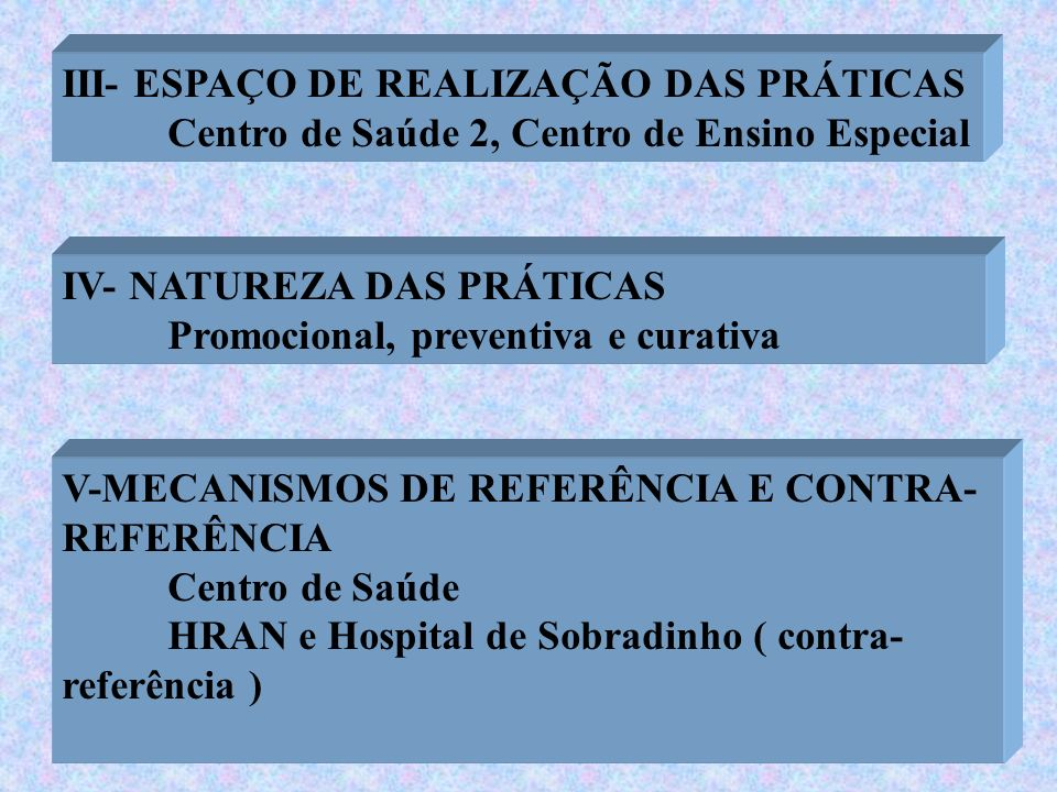III- ESPAÇO DE REALIZAÇÃO DAS PRÁTICAS