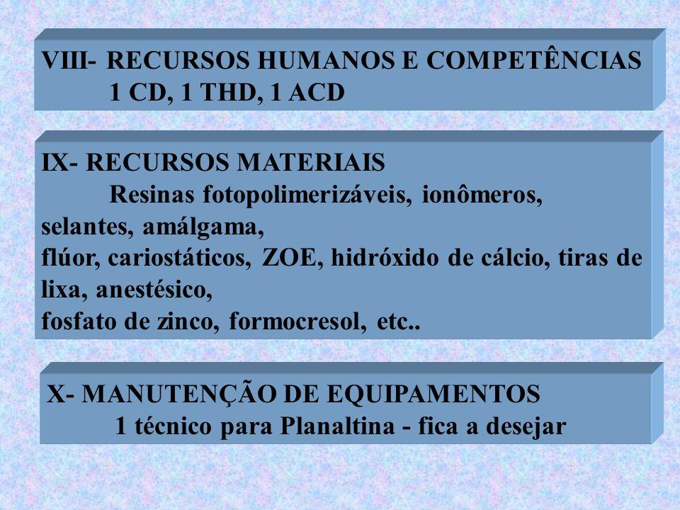 VIII- RECURSOS HUMANOS E COMPETÊNCIAS