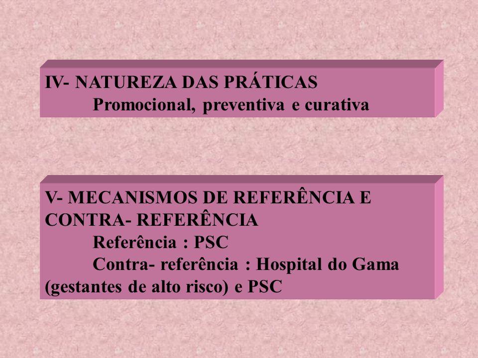 IV- NATUREZA DAS PRÁTICAS