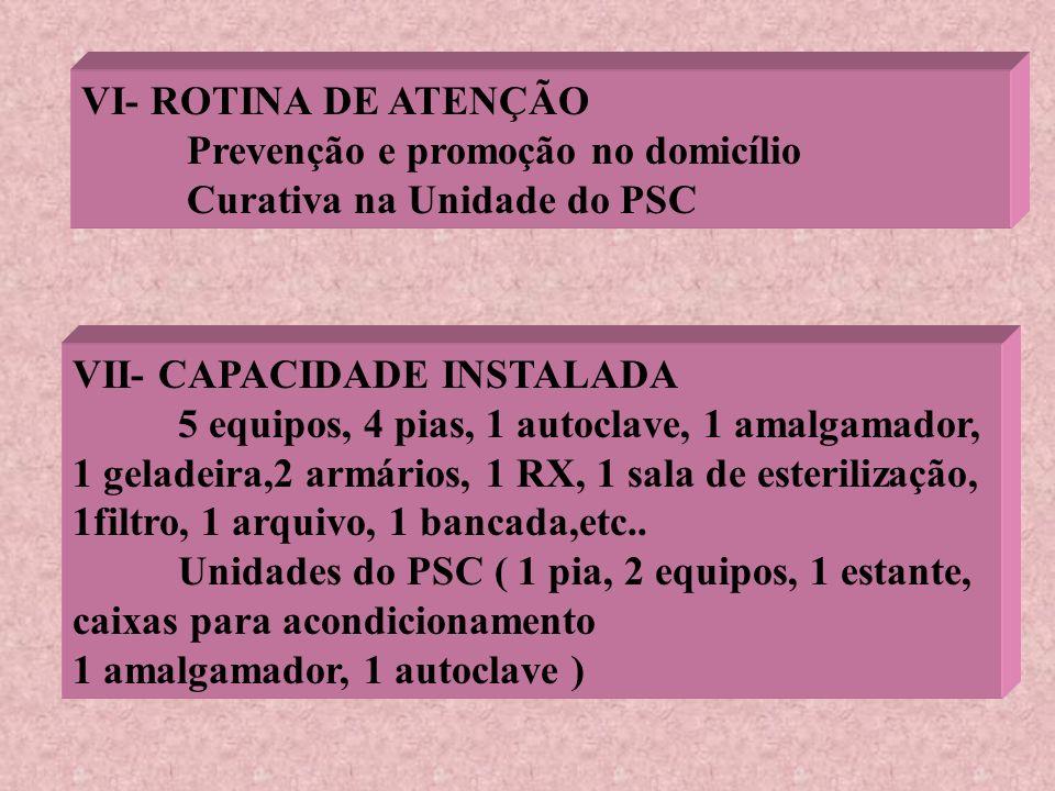 VI- ROTINA DE ATENÇÃO Prevenção e promoção no domicílio. Curativa na Unidade do PSC. VII- CAPACIDADE INSTALADA.