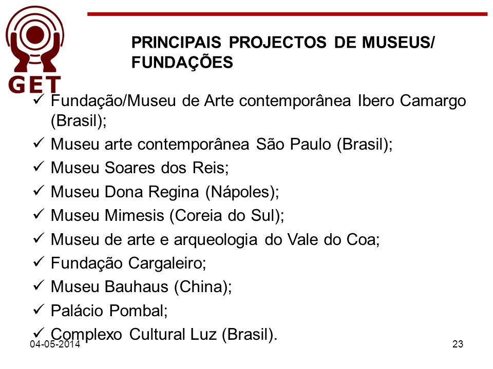 PRINCIPAIS PROJECTOS DE MUSEUS/ FUNDAÇÕES