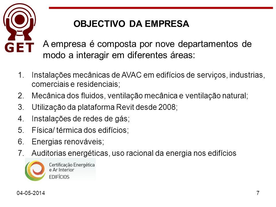 OBJECTIVO DA EMPRESA A empresa é composta por nove departamentos de modo a interagir em diferentes áreas: