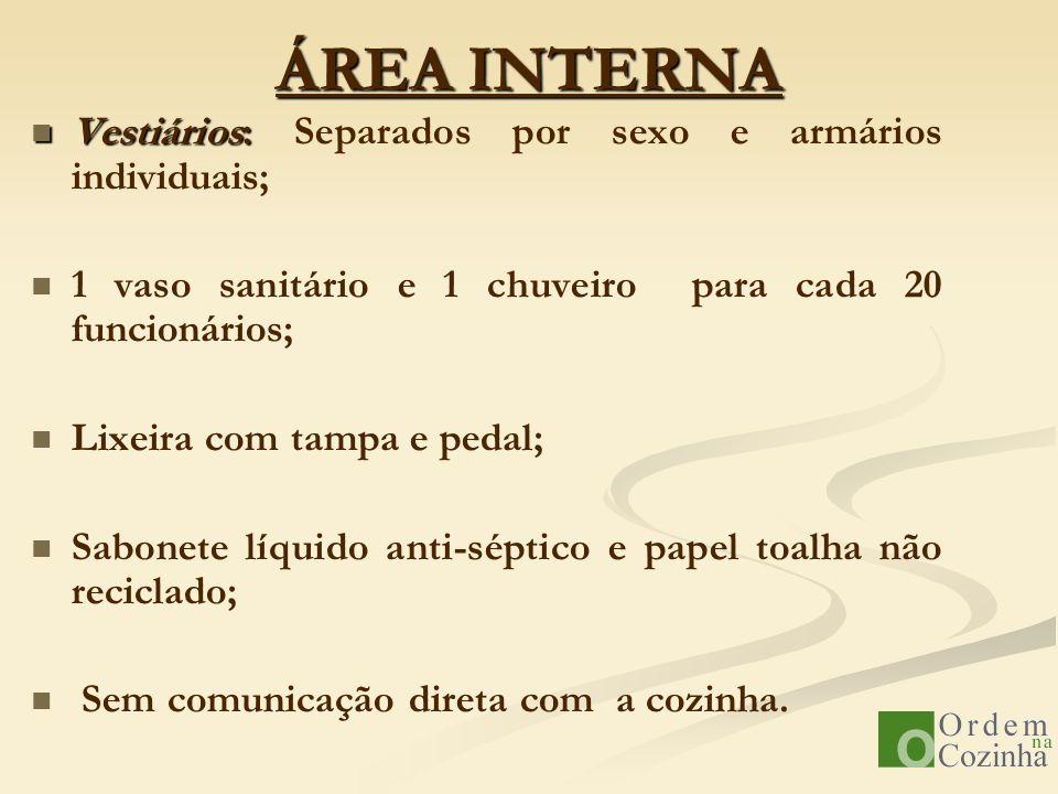 ÁREA INTERNA Vestiários: Separados por sexo e armários individuais;