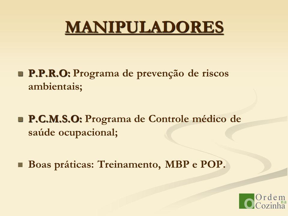 MANIPULADORES P.P.R.O: Programa de prevenção de riscos ambientais;